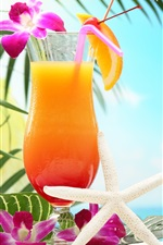 Preview iPhone wallpaper Tropical drinks, fruit juice, flowers, glass cup
