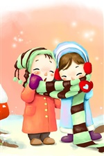 Preview iPhone wallpaper Two little girls in winter, coat, scarf, rabbits, art drawing