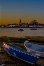 Village, river, boats, houses, sunset