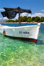 White boat, sea, coast, tropical