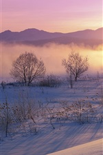 Preview iPhone wallpaper Winter morning, fog, mountains, snow, sunrise