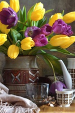 Preview iPhone wallpaper Yellow and purple tulips, vase, cup, still life