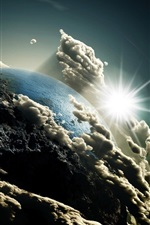 Preview iPhone wallpaper 3D Earth, clouds, sun, space