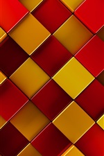Preview iPhone wallpaper 3D squares, red, yellow, brown