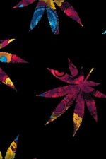 Abstract maple leaves, colorful, black background