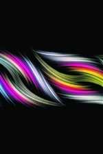 Abstract wave, colorful, black background