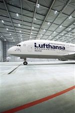 Preview iPhone wallpaper Airbus A380 passenger aircraft stopped at airport