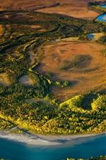 Preview iPhone wallpaper Alaska, Arctic National Park, USA, nature, trees, river