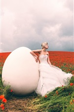 Preview iPhone wallpaper Alexandra Cameron, girl and big egg, red poppies field