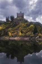 Preview iPhone wallpaper Alleuze, France, lake, fog, trees, castle, clouds