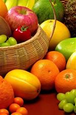 iPhone обои Ассорти фруктов, ананас, дыня, виноград, апельсин, киви, яблоки