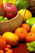 Preview iPhone wallpaper Allsorts fruit, pineapple, melon, grapes, orange, kiwi, apples
