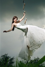 Preview iPhone wallpaper Asian girl, bride, ladder