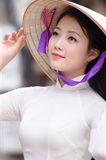 Preview iPhone wallpaper Asian girl, hat, white dress