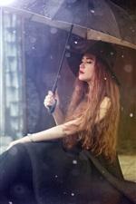 Preview iPhone wallpaper Asian girl sit down, umbrella, rainy