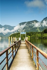 Preview iPhone wallpaper Austria, Hallstatt, pier, lake, mountains, clouds, rocks