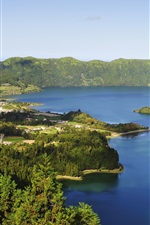 Preview iPhone wallpaper Azores, Portugal, lake, mountains, forest