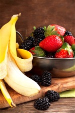 Preview iPhone wallpaper Banana and berries, blackberries, strawberries, fruit