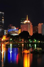 Preview iPhone wallpaper Bangkok, Thailand, city night, buildings, houses, lights, lake, night
