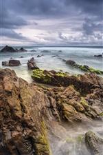 Preview iPhone wallpaper Barrika, Spain, sea, rocks, clouds, summer