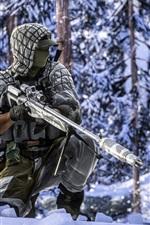 Battlefield 4, soldiers, sniper, winter, snow