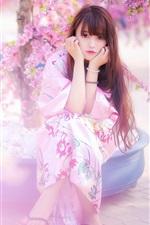 Preview iPhone wallpaper Beautiful Japanese girl, kimono, pink sakura, spring