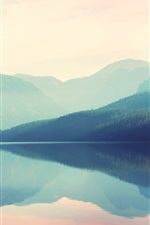 Preview iPhone wallpaper Beautiful nature landscape, mountains, lake, fog, water reflection