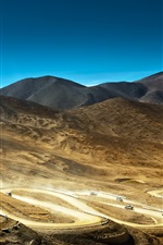Preview iPhone wallpaper Bends road, cars, desert, mountains