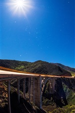 Preview iPhone wallpaper Big Sur, Bixby Bridge, Pacific Ocean, coast, blue sky, California, USA
