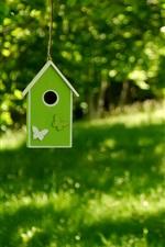 Birdhouse, tree, grass, green