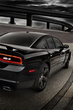 Black Dodge car rear view