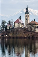 Preview iPhone wallpaper Bled lake, Slovenia, island, Church, water