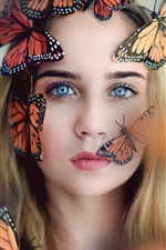 Preview iPhone wallpaper Blonde girl and butterflies
