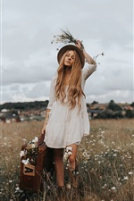 Preview iPhone wallpaper Blonde girl, hat, suitcase, wildflowers