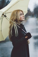 Preview iPhone wallpaper Blonde girl, rain, umbrella, street