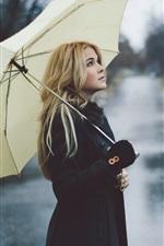 Preview iPhone wallpaper Blonde girl, rain, umbrella, street