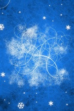 Blue background, abstract, snowflakes, bright lines