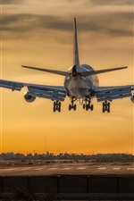 Boeing 747 airplane take off