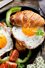 Breakfast, coffee, scrambled eggs, bread