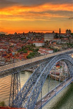 Preview iPhone wallpaper Bridge Louis, Portugal, river, dusk, city, clouds, sunset