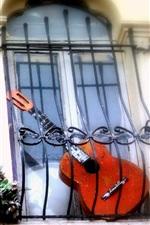 Preview iPhone wallpaper Broken guitar, balcony
