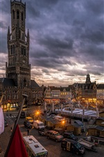 Preview iPhone wallpaper Bruges, Belgium, city, market, houses, dusk, lights, clouds