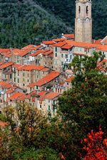 Preview iPhone wallpaper Castel Vittorio, Italy, Liguria, mountains, houses, tower, top view