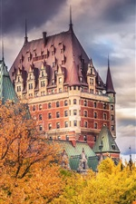 Chateau Frontenac, Canada, autumn, trees, clouds