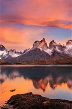 Preview iPhone wallpaper Chile, Patagonia, Andes mountains, lake, sunset