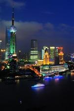 iPhone fondos de pantalla China, ciudad, Shanghai, noche, río, barcos, rascacielos, luces