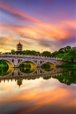 Preview iPhone wallpaper Chinese Garden, lake, bridge, water reflection, clouds, sunset, Singapore