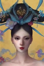 미리보기 iPhone 배경 화면 중국 소녀, 고대, 판타지