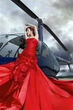Preview iPhone wallpaper Chinese girl, red dress, helicopter