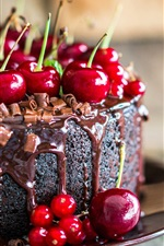 Chocolate cake and cherries, delicious food